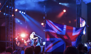 Fans with British flag on a music festival